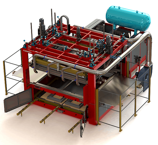 thermoforming machine for building industry